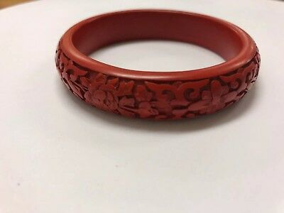 Antique CHINESE CARVED CINNABAR LACQUER BANGLE BRACELET, FLOWERS LOTUS ?