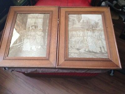 pair of antique oak frames with fabric panels of 18c street scenes