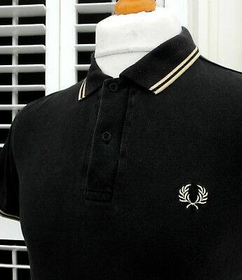 """Fred Perry Black/Gold Twin Tipped Pique Polo - XS/S - 36"""" - Ska Mod Workwear"""