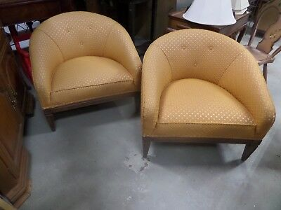 Mid Century Modern Upholstered Club Chairs (2)