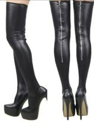 Womens Black Stockings Hold Ups Pvc Wet Look Faux Leather Bondage Thigh High