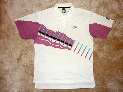 NIKE Tennis Polo shirt US Size M Andre Agassi Challenge Court vintage 1991