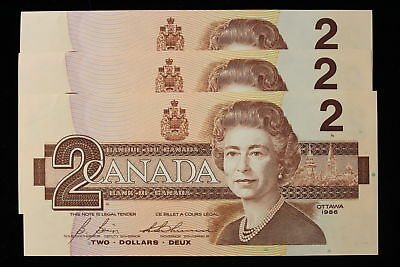 1986 Canada. ($2) Two Dollars. 3 x Consecutive Notes. Series CBJ.