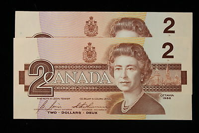 1986 Canada. ($2) Two Dollars. 2 x Consecutive. Scarce Series EGR.