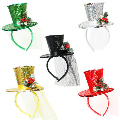 Mini Glitter Top Hat With Holly Christmas Headband Veil Ladies Party Fancy Dress
