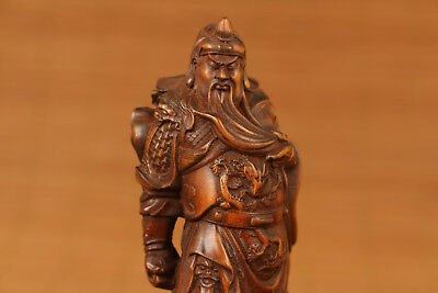 Guan yu old Boxwood Guan gong Hero statue figure Collection Japanese Netsuke