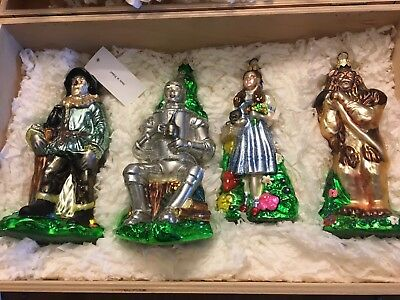 Wizard Of Oz Kurt Adler 1999 Polonaise Set Of Four Ornaments In Wooden Crate