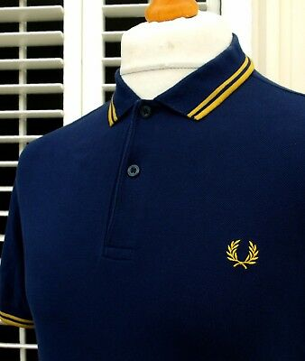 FRED PERRY FRENCH NavyMustard Twin Tipped Polo M Ska