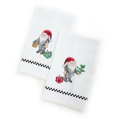 Mackenzie Childs Set of 2 CHRISTMAS ELVES in Courtly Check Boots GUEST TOWELS