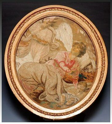 Antique Georgian Era French Silk work Embroidery Tapestry, Frame, Angel & Mortal