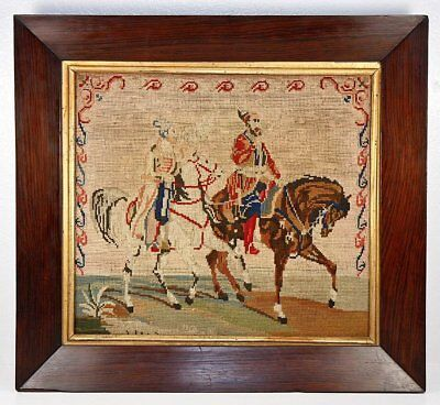 """Antique Victorian Needlepoint Tapestry, 16.5"""" Rosewood Frame, Arabian Horses"""