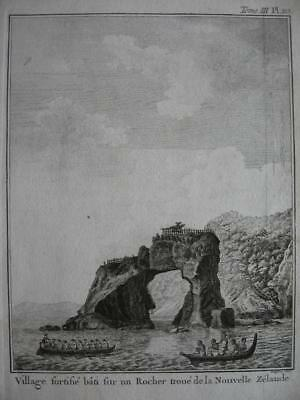 1774 - COOK - NEW ZEALAND Print FORTIFIED VILLAGE ON A HOLLOW ROCK