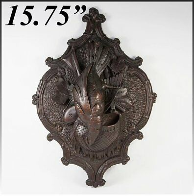 """Antique Carved Black Forest """"Fruits of the Hunt"""" 15.75"""" Wall Plaque, Match Hold"""