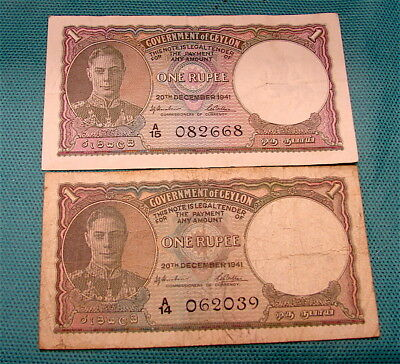 1941~~2~TWO~ GOVERNMENT OF CEYLON  1 Rupee Currency Notes   WW2 Vintage Notes