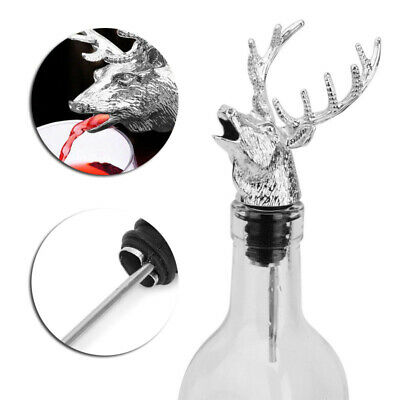 Top Wine Bottle Sealer Cork Pourer Stopper Antler Stag Red Wine Deer Head Pourer