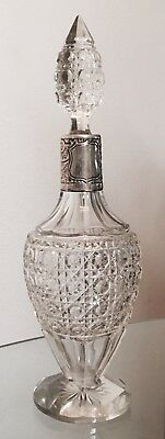 Antique sterling silver & crystal Cut glass decanter