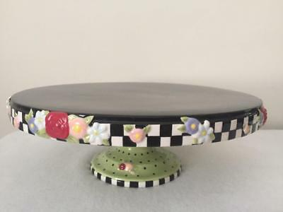 Mary Engelbreit Cake Plate Stand Black Checkered Floral 2000 Michel and CO Me