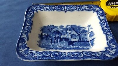 George Jones & Son small rectangular Bowl Blue And White Transfer Pottery 1790 .