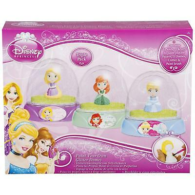 Disney Princess Paint Your Own Childrens Glitter Snow Domes Globes - 3 Pack
