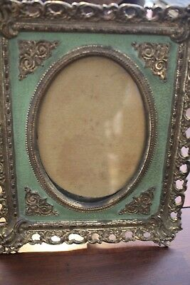 Antique NB & IW 2106 Ornate Brass Over Cast Iron Photo Frame Easel