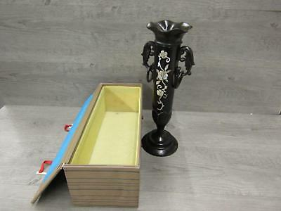 Asian Themed Dark Wooden Candle Holder/Vase? W Mother of Pearl Flower Design