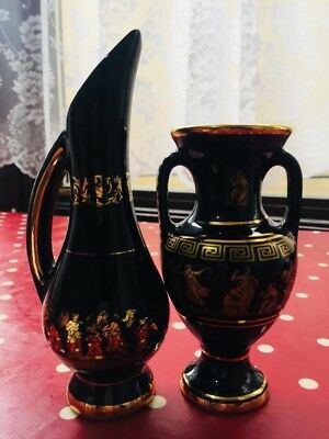 Antique Pair of Large Feax Ceramics Vases