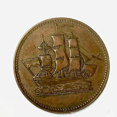 Vintage - 1835 - Ships Colonies & Commerce Token -  Canada 1/2 Cent - See Pics