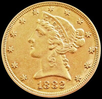1882 Gold Us $5 Dollar Liberty Head Half Eagle Coin Philadelphia Mint
