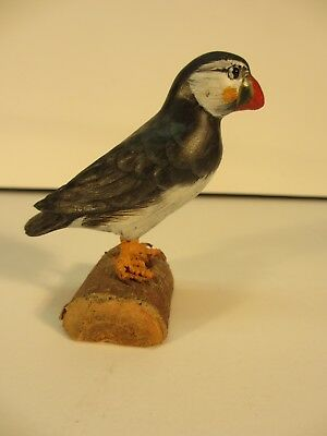 Carved Wooden Puffin 2.75 Inches Tall Glass Eyes Signed