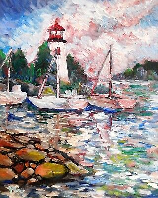 LIGHT HOUSE 8x10 IMPRESSIONISM NAUTICAL Original Acrylic Painting by Patricia