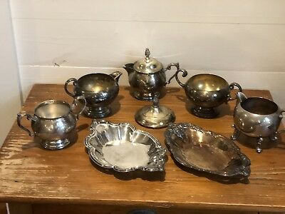 Assorted Silver Plate Pieces.  7 Pieces.  Vintage.