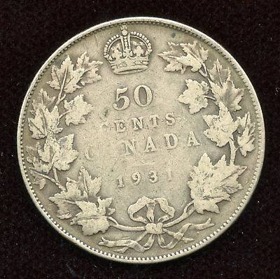 CANADA 1931 50 Cents Silver Coin - Key Date