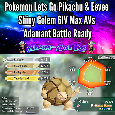 Pokemon Lets Go Pikachu & Eevee Shiny Golem 6IV Max AVs Adamant Battle Ready