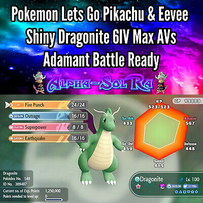 Pokemon Lets Go Pikachu & Eevee Shiny Dragonite 6IV Max AVs Adamant Battle Ready