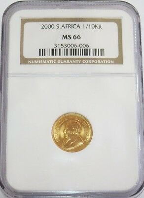 2000 Gold South Africa 1/10 Oz Krugerrand Coin Ngc Mint State 66