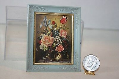 Miniature Dollhouse Floral Still Life Print in Robins Egg Blue Vintage Frame NR