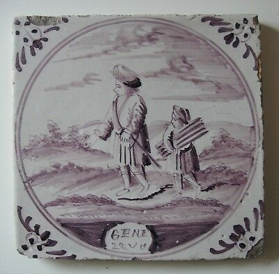 "19th Century DUTCH DELFT BIBLICAL TILE ""GENESIS 22:4 ABRAHAM & ISAAC"" c.1800/50"