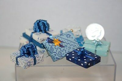 Miniature Dollhouse Lot 7 Fancy Wrapped Chanukah Hanukkah Gifts/Present 1:12 NR