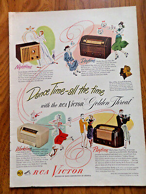 1948 RCA Victor Radios Ad  Shows 4 Models Dance Time-all the Time