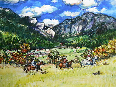 "WESTERN MOUNTAIN RANCH ORIGINAL PAINTING  Cowboy Horse Dog Trail #63 WC 11""x15"""