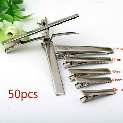 50Pcs Hair Clips DIY Plated Silver Crocodile Alligator Clips Findings For Bows