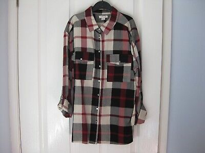 Girls Top Age 10 River Island Check Shirt Dark Red Black Grey Exc Condition