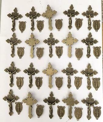 Lot 40 Rosary Crucifixes crosses & Centers rosaries part finish BRONZE NEW