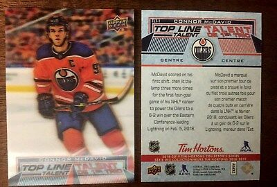 2018/19 Tim Hortons  TOP LINE TALENT CONNOR MCDAVID TLT1 *L@@K* MINT  18-19