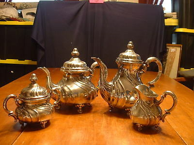 Gorgeous Antique 5 PC German 835S Silver Tea Set by Lutz & Weiss