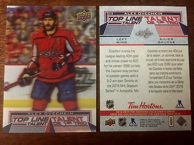 2018/19 18-19  Tim Hortons  TOP LINE TALENT ALEX OVECHKIN TLT 9 *L@@K* MINT
