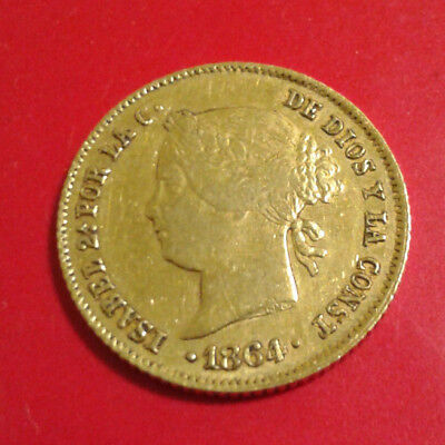 ISABEL II SPANISH PHILIPPINES Spain Filipinas 4 Peso 1864 GOLD COIN *Final Price