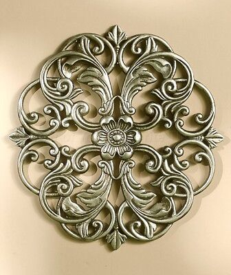 1 Pewter Medallion Wall Art Carved Wood Look Home Decor