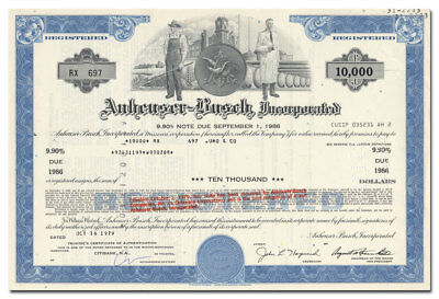 Anheuser-Busch, Incorporated Bond Certificate