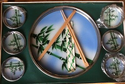 Rare WWII Japanese Glass Tray 6 Coasters & 2 Sets of Chop Sticks Original Box